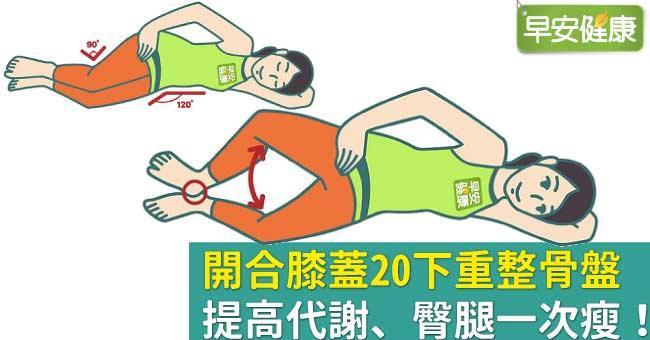 開合膝蓋20下重整骨盤,提高代謝、臀腿一次瘦!