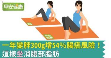 一年變胖300g增54%腸癌風險!這樣坐消腹部脂肪