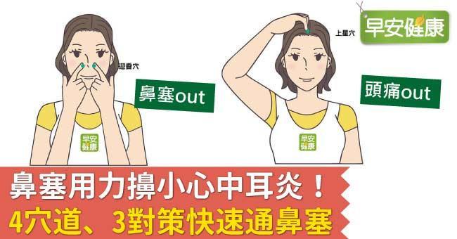 鼻塞用力擤小心中耳炎!4穴道、3對策快速通鼻塞