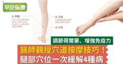 醫師親授穴道按摩技巧!腿部穴位一次緩解4種病