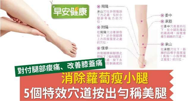 消除蘿蔔瘦小腿,5個特效穴道按出勻稱美腿