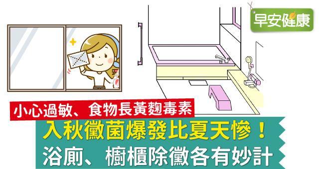 入秋黴菌爆發比夏天慘!浴廁、櫥櫃除黴各有妙計